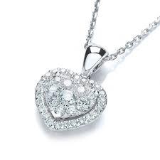 18ct white gold diamond cer heart