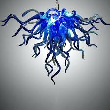 blue blown glass chandelier anemone hand blown glass chandelier the parks by image lamp shades blue blown glass chandelier