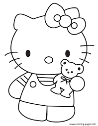 Small Picture hello kitty showing teddy bear Coloring pages Printable