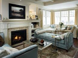 living room admirable mid century modern fireplace inside family room interior with beige chairs astounding