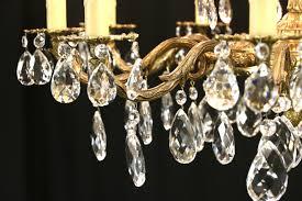 embossed brass cut crystal 20 light candle vintage chandelier