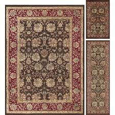 3 piece area rug set brown red oriental weavers windsor better homes and gardens geo waves