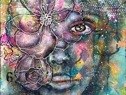 mixed media flower girl canvas