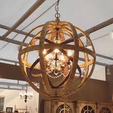 lighting metal wood beads chandelier white wash creative co op