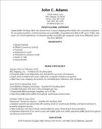Resume Templates: Stocking Clerk