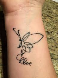 hand holding mirror tattoo. A Tattoo Of An Illustration Butter Fly With Chloe Written Underneath Hand Holding Mirror