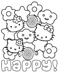 Small Picture Happy Hello Kitty Coloring Page Printable Treatscom