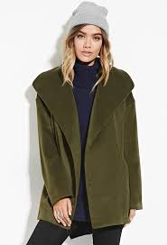 forever 21 green coat with shawl collar