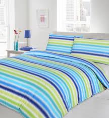 blue lime turquoise colour bedding duvet cover reversible stripes print design