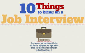 10 Things To Bring To Every Job Interview Infographic Cob