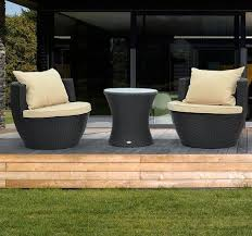 3pc Rattan Wicker Sofa Outdoor Patio Stackable Furniture Set Chat