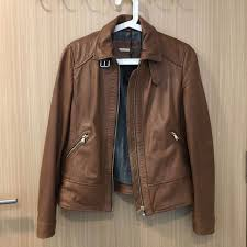 bnwt massimo dutti brown leather jacket women s fashion clothes outerwear on carou