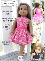 Free Printable American Girl Doll Clothes Patterns Custom Lana Top And Skirt Sewing Pattern SuzyMStudio
