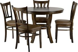 Grosvenor Round walnut table with four Brown PU upholstered chairs , Please click to get details Chartlink Furniture DINING ROOM