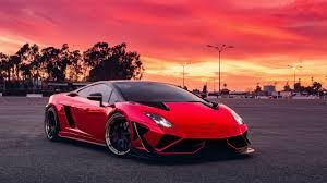 Red car wallpaper, red sky, sports car ...