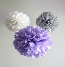 Hanging Pom Pom Decorations 7 Pom Poms Vintage Violet Tissue Paper Pom Poms More Colors