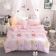 2018 pink and white stripes bedding sets printed duvet cover set sheets pillowcase queen twin full