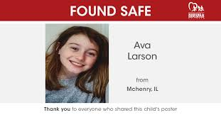 """NCMEC on Twitter: """"FOUND SAFE 💛 Ava Larson, missing from Mchenry, Illinois  has been safely located. If you ever have a tip about a missing child,  please call the National Center for"""