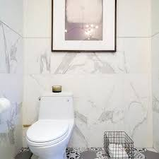 tiled bathroom walls. White Marble Bathroom With Gray Mosaic Hex Tile Floor Tiled Walls