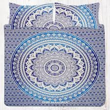 blue ombre flower hippie bed sheet set with pillow covers