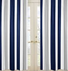 Navy And White Curtains Sweet Jojo Designs Navy Blue And Gray Stripe Collection Window