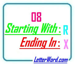 8 letter word with x eight letter words starting with r and ending in x letters in word
