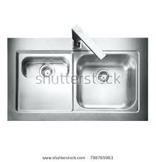 kitchen sink top view. Stainless Steel Double Bowl Inset Kitchen Sink Top View With Tap Isolated On White Background Tops . Laboratory Sit T