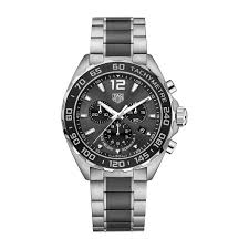 ceramic watches mens tag heuer formula 1 men s chronograph black ceramic and stainless steel bracelet watch