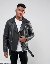 leather biker jacket with belt in black f9j1krwu jackets coats men s clothing