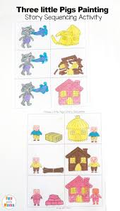 3 Little Pigs Craft Sequencing Coloring