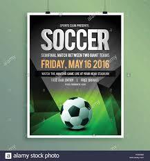 soccer team brochure template soccer game flyer template design stock vector art illustration