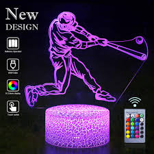 Lights Of Guidance Baseball Lamps Remote Control 3d Vision Effect Led Rgb Night Lights Of Guidance Bedroom Desk Table