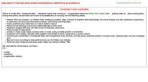 Welder Helper Job Description Welder Fitter Helper Job Experience Letter