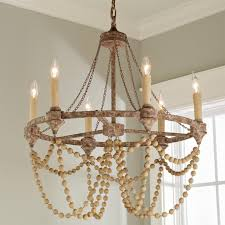 fullsize of wood bead chandelier