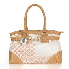 Coach Knitted Logo Large Apricot Satchels ERV