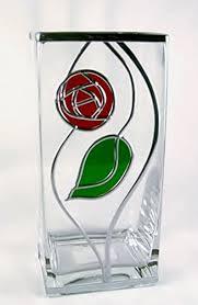charles rennie mackintosh style rose and leaf design square vase 22 cm art deco