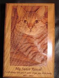 wooden cat urn laser engraved