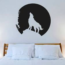Small Picture Wall Decal Vinyl Sticker Decals Art Decor Design Wolf Mooon Night