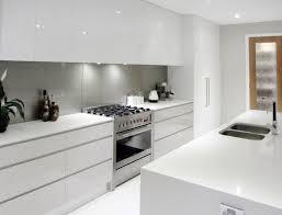 Splashback White Kitchen White Cupboards No Handles Light Grey Splashback All In One