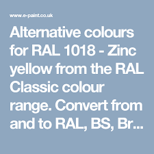 Alternative Colours For Ral 1018 Zinc Yellow From The Ral