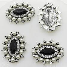 fashion hot 10pcs 21mm diamond alloy diy jewelry accessories flat back imitation pearls base settings whole