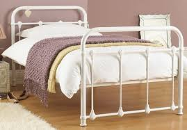 Purity Single White Metal Bed Frame Metal Beds