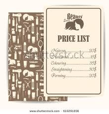 Beauty Salon Barbershop Vintage Price List Stock Vector 619291856 ...