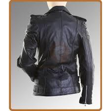 womens black leather biker jacket las motorcycle leather jacket