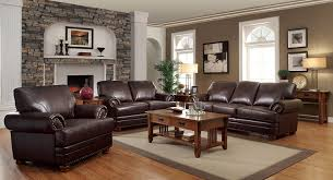 Modern Living Room With Brown Leather Sofa Amazoncom Coaster Colton Sofa Brown Kitchen Dining