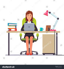 woman office furniture. Business Woman Or A Clerk Working At Her Office Desk. Flat Style Modern Vector Illustration Furniture N