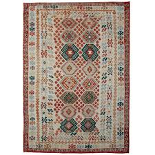 afghan kilim rugs green and ivory with traditional motifs for