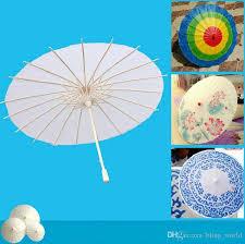 2019 diy blank paper umbrellas bridal wedding parasols white paper umbrellas kids painting craft umbrella 30cm 40cm 50cm 60cm diameter yw497 from