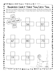 Hundred Chart Worksheet Hundreds Chart More Than Less Than Worksheet Squarehead