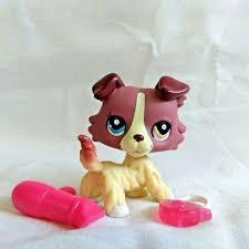 Littlest Pet Shop Light Up Dragonfly Littlest Pet Shop 1262 Collie Pink Blue Eyes Lps Toy Figure Genuine Hasbro 2007